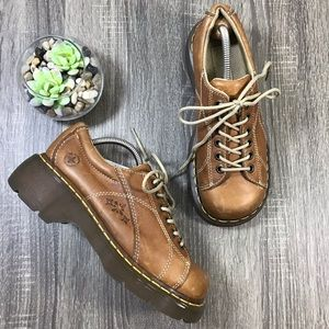 Dr. Martens   Flower Brown Leather Chunky Oxfords